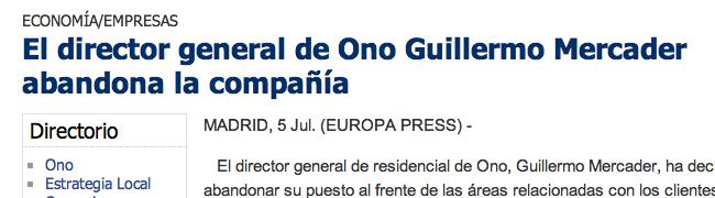 Guilermo Mercader deja Ono